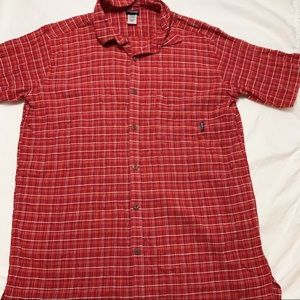 Patagonia Organic Cotton Red Button Down Polo